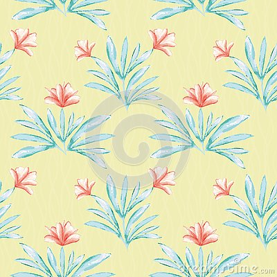 Hibiscus inspired painted water colour coral and green floral design. Seamless vector pattern on lined textured yellow Vector Illustration