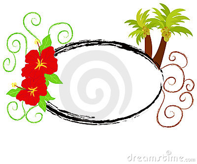 Hibiscus and palm trees