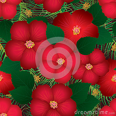 Free Hibiscus Red Top Seamless Pattern Royalty Free Stock Photography - 72659807
