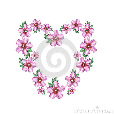 hibiscus rose flower background heart wreath frame in watercolor drawing