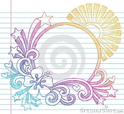Hibiscus Summer Beach Vector Sketchy Doodle