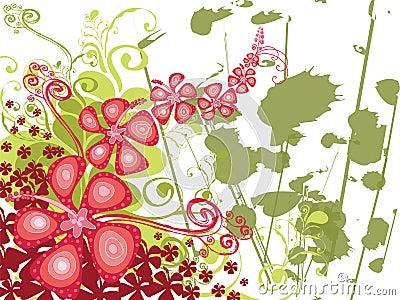 Hibiscus swirl grunge
