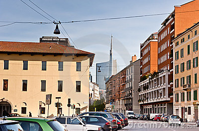 HIDDEN MILAN: old and new buildings Editorial Stock Photo
