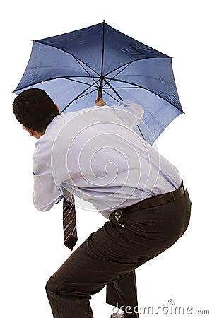 Hiding bewind an umbrella