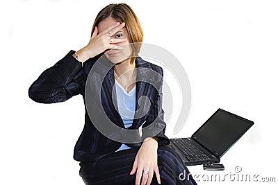 Hiding business woman