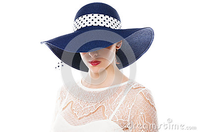 Hiding eyes under sun hat