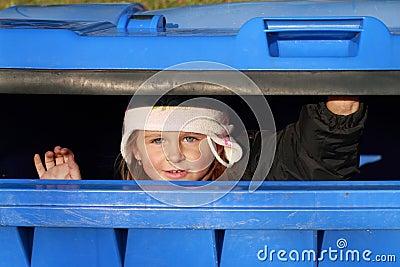 Hiding little girl