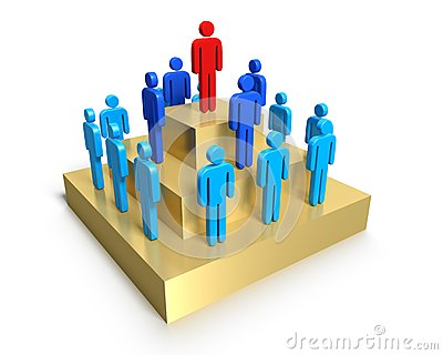 Hierarchy of people on pedestal.