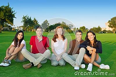 Hierba verde de la sentada feliz de la gente del grupo de los amigos