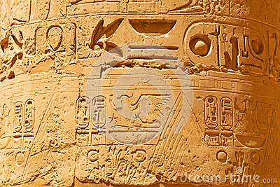 Hieroglyphic on the pillars of Karnak temple