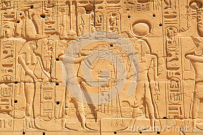 Hieroglyphic on the wall of Karnak temple