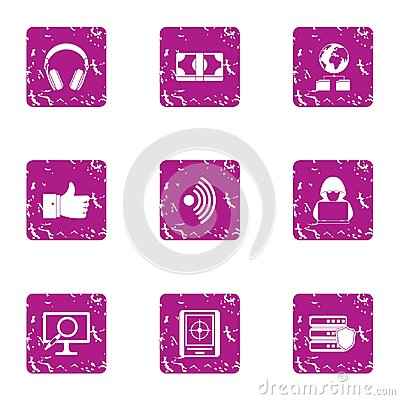 High adaptability icons set, grunge style Vector Illustration