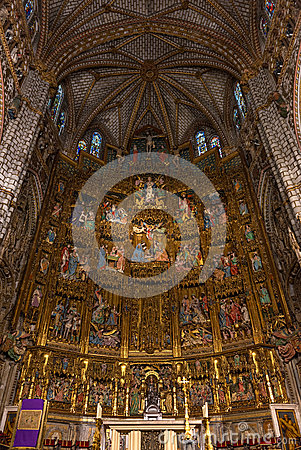 Free High Altar Of The Gothic Cathedral Of Toledo Stock Photos - 52621063