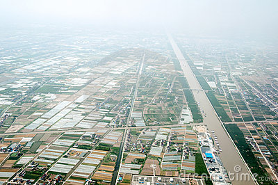 High-altitude aerial view of rural China