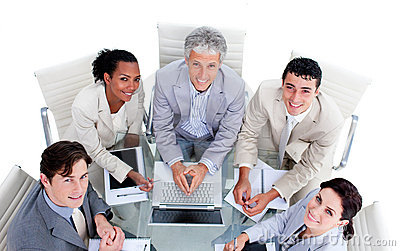 High angle of a multi-ethnic business team