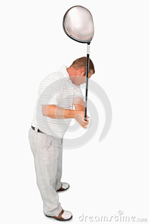 High angle shot of golfer