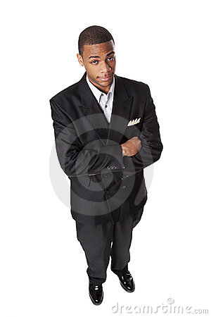 High angle smiling African American businessman
