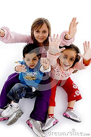 High angle view of enjoying children