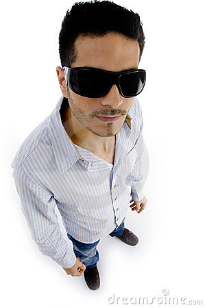 High angle view of handsome man wearing sunglasses