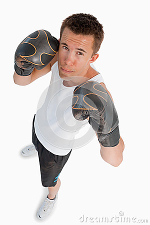 High angle view of male boxer
