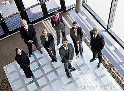 High angle view of multi-ethnic co-workers