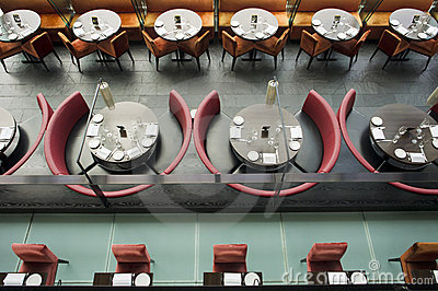 High angle view of a restaurant Stock Photo