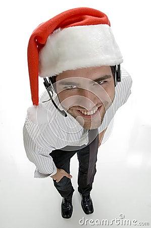 High angle view of santa man