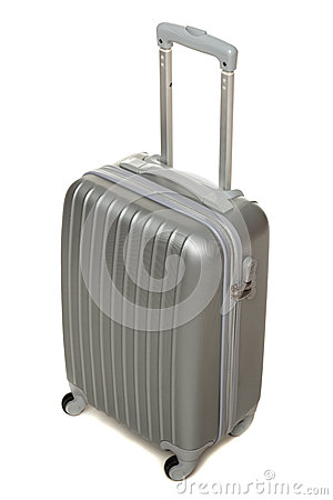 High angle view of silver travel suitcase