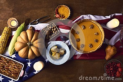 High angle view of table served for thanksgiving dinner Stock Photo