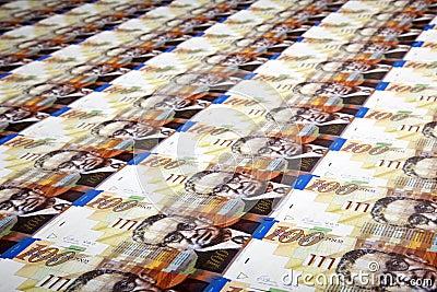 One Hundred Shekels Bills Background
