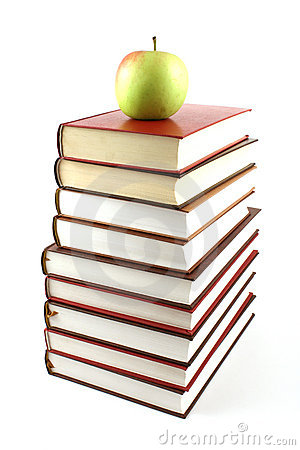 Free High Books Pyramid With Green Apple On Top Royalty Free Stock Photos - 6126528