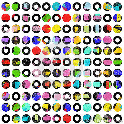 High contrast colored dots on white