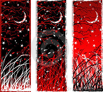 High contrast gothic vertical night banners