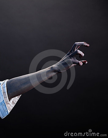 High contrast zombie hand, extreme body-art