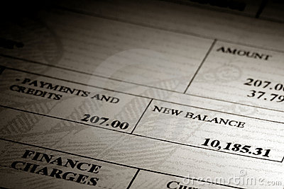 High Credit Card Debt Balance on a Bank Statement