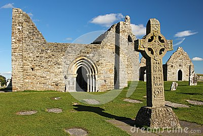 High Cross of the scriptures and cathedral. Clonmacnoise. Ireland
