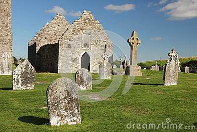 High Cross and temple. Clonmacnoise. Ireland