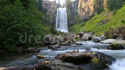 High definition 1080p movie with audio of beautiful Tumalo Falls west of Bend Oregon hd. United States stock footage