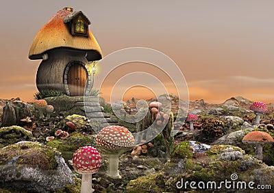 Magical Fairy Mushroom House Fantasy Stock Photo