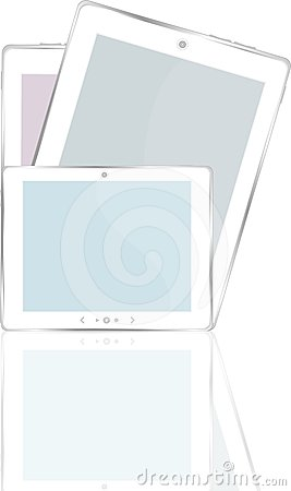 High-detailed black tablet pc on white background