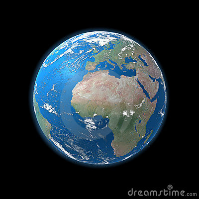 High detailed Earth map, europe, africa