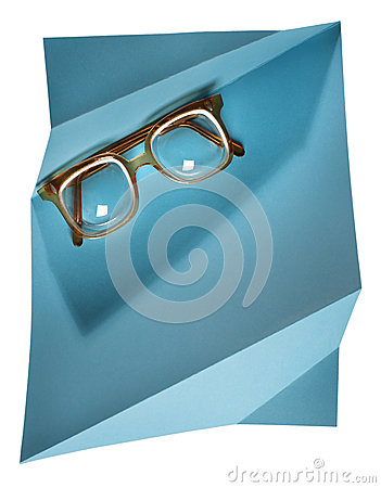 Free High Diopter Retro Eyeglasses With Yellow Frame On Blue Creative Support Royalty Free Stock Image - 37199126
