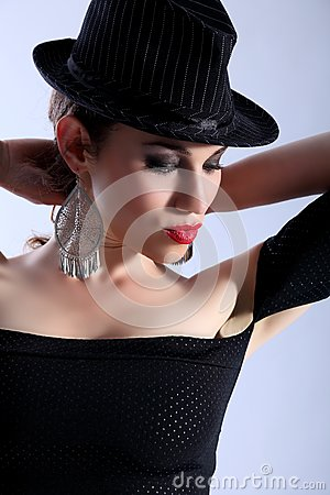 High fashion headshot beautiful model wearing hat