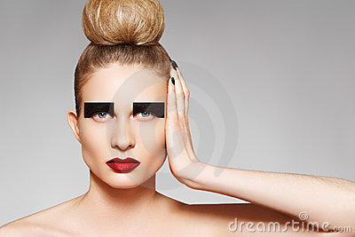 High fashion style. Creative make-up and hairstyle