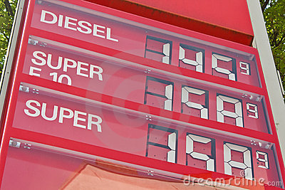 High gasoline prices at a gas station Editorial Image