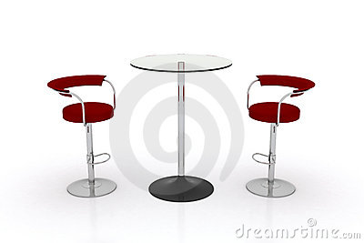 High Glass Top Table w Chairs