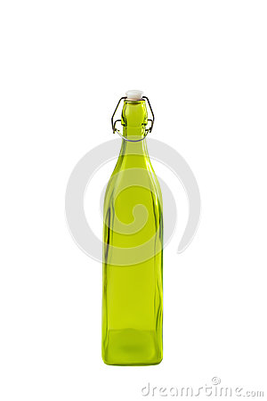 Free High Green Glass Bottle Isolated On White Background Olive Oil. White Plastic Cork And Ply Rusty Latch In The Bottle Neck Royalty Free Stock Images - 87890469