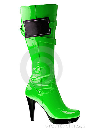 Free High Heel Fashion Green Boot Isolated On White Stock Image - 9009691