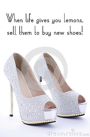 Free High Heel Rhinestone Shoes With Funny Saying Text. Royalty Free Stock Image - 59097306