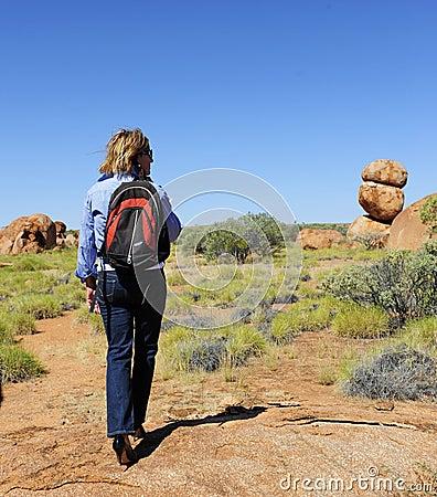 High Heel Walking Woman in Outback Australia